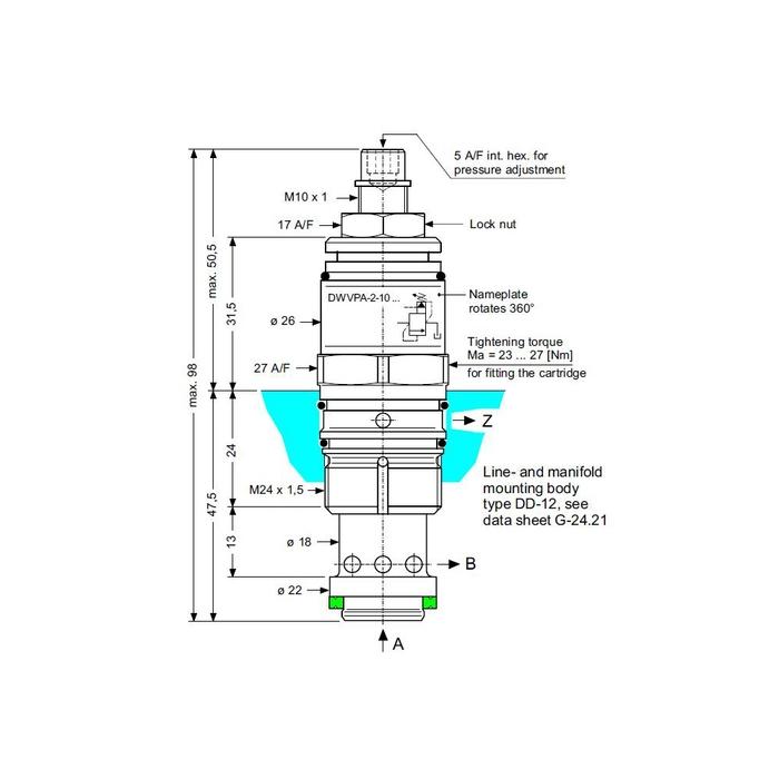 Bucher DWVPA / Z-2 Bypass Hydrostat Cartridge, 10 mm
